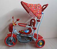 Детский трехколесный велосипед с родительской ручкой и качалкой