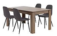 Комплект кухонный  (обеденная группа из стола прямоугольного + 4 стула тканевых )
