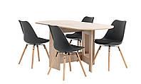 Комплект кухонный  (обеденная группа из стола раскладного + 4 стула черные)