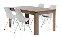 Комплект кухонный мебели (обеденная группа из стола 160 см + 4 стула белые)