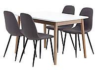 Комплект кухонный  (обеденная группа из стола прямоугольного белого + 4 стула тканевых )