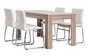 Комплект кухонный  (обеденная группа из стола прямоугольный + 4 стула белая кожа)