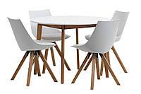 Комплект кухонный белый(обеденная группа из стола круглого белого + 4 стула белых)