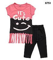 Летний костюм для девочки: футболка с бахромой и бриджи