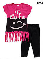 Летний костюм для девочки: футболка с бахромой и бриджи 2, 3, 4, 5, 6 лет