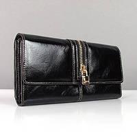 Кожаный черный кошелек JCCS женский глянцевый
