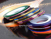 Дизайн ногтей декор лента разных оттенков