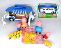 Автобус Свинки Пеппы Веселый Кемпинг ТМ8851А: 4 фигурки героев, набор для пикника, подвижные детали