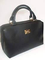 Женская сумка-саквояж  черного цвета