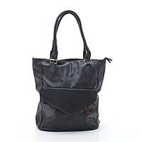 Качественная женская сумка черная коричневый карман из искусственной кожи