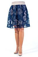 Стильная юбка в школу синего цвета.