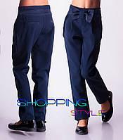 """Школьные брюки """"Бантик"""" т.синие"""