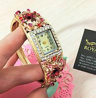 """Часы-браслет """"Камелия"""", красивые с кристаллами."""