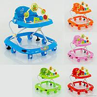 Детские ходунки музыкальные, модель 258, 3 положения по высоте, тормоз, колеса 6,5 см, 5 расцветок