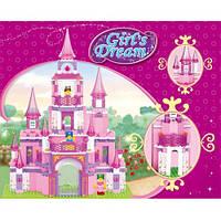Конструктор Замок для девочек М38-В0152, 472 детали, 4 фигурки, конь, многоуровневый