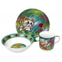 """Детский набор посуды из фарфора """"Крошка Енот"""" 3 предмета"""