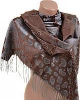 Необычный женский кашемировый палантин размером 70*180 см Подиум 32109-4 (коричневый с серым)