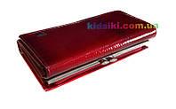 Женский стильный красный кожаный кошелёк
