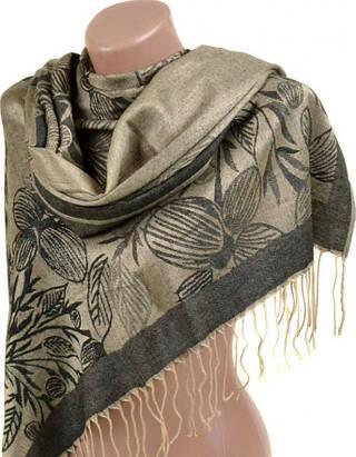 Оригинальный женский кашемировый палантин размером 70*180 см Подиум 32105-2 (темно-зеленый, золото)