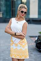 Нарядное белое Платье с желтым орнаментом