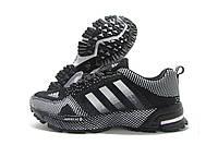 Кроссовки женские Adidas Marathon черные с белым (адидас марафон)