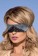 Серая атласная маска с кружевом Satinia mask Obsessive