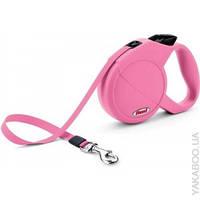 Поводок-рулетка для собак Flexi Mini Compact XS Dog (Флекси) розовая, лента 3м*12кг