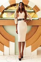 Офисное бежевое платье Сабрина   42-48 размеры Jadone