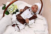 """Нарядный трикотажный комбинезон 56р. для младенца  """"Фрак"""" (шоколад)"""