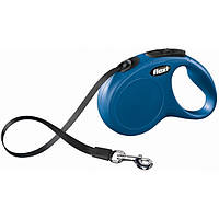 Поводок-рулетка для собак Flexi Compact M/L (Флекси) синяя, лента 5м*50кг