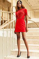 Модное Мини Платье Из Замши с Шикарной Перфорацией Красное р. S M L XL