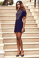 Модное Мини Платье Из Замши с Шикарной Перфорацией Темно-Синее р. S M L XL