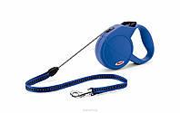 Поводок-рулетка для собак Flexi Classic Long M (Флекси) синяя, трос 8м*20кг