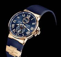 Часы мужские Ulysse Nardin Marine кварцевые, синие с линзой
