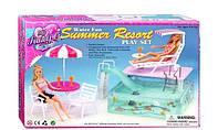 Мебель с бассейном и шезлонгом для кукол Барби водная горка