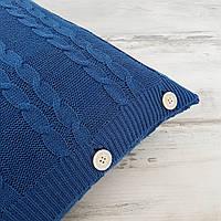 Подушка декоративная Ohaina на пуговицах вязаная в косы 40х40 хлопок цвет индиго