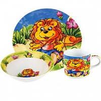 """Детский набор посуды из фарфора """"Львенок"""" 3 предмета"""
