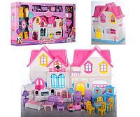 Большой дом для кукол со светом и звуком с мебелью, машиной