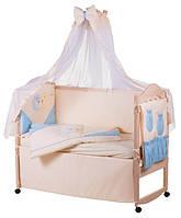 Детское постельное белье Ellit с аппликацией 100% хлопок, бежевое с голубыми вставками