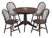 Комплект кухонный коричневый дерево  (обеденная группа из стола круглого + 4 стула дерево)