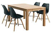 Комплект кухонный (обеденная группа из стола из массива дуба + 4 стула черных)