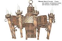 Люстра деревянная Факел стандарт на 8 ламп