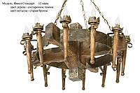 Люстра деревянная Факел стандарт на 12 ламп