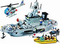 Конструктор Военный корабль 821 Brick, Combat Zones, стреляющая пушка, катер с матросами, 6+, 843 детали