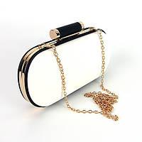 Белая вечерняя сумочка-клатч женская маленькая