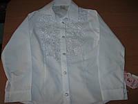 Нарядная белая блузка  с длинным пукавом для девочек 9-12 лет Турция