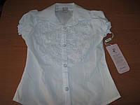 Нарядная белая блузка  с коротким рукавом для девочки 5-8 лет Турция