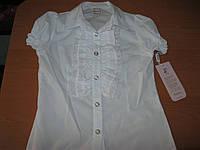Нарядная белая блузка с коротким рукавом  для девочек 9-12 лет Турция