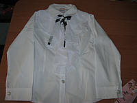 Детская белая блузка  с длинным рукавом для дв очки 5,7 лет Турция