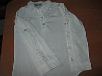 Детская белая рубашка-блузка для девочки с длинным  рукавом 5-8 лет Турция